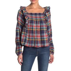 NWT Free People Siena Plaid Pullover Top
